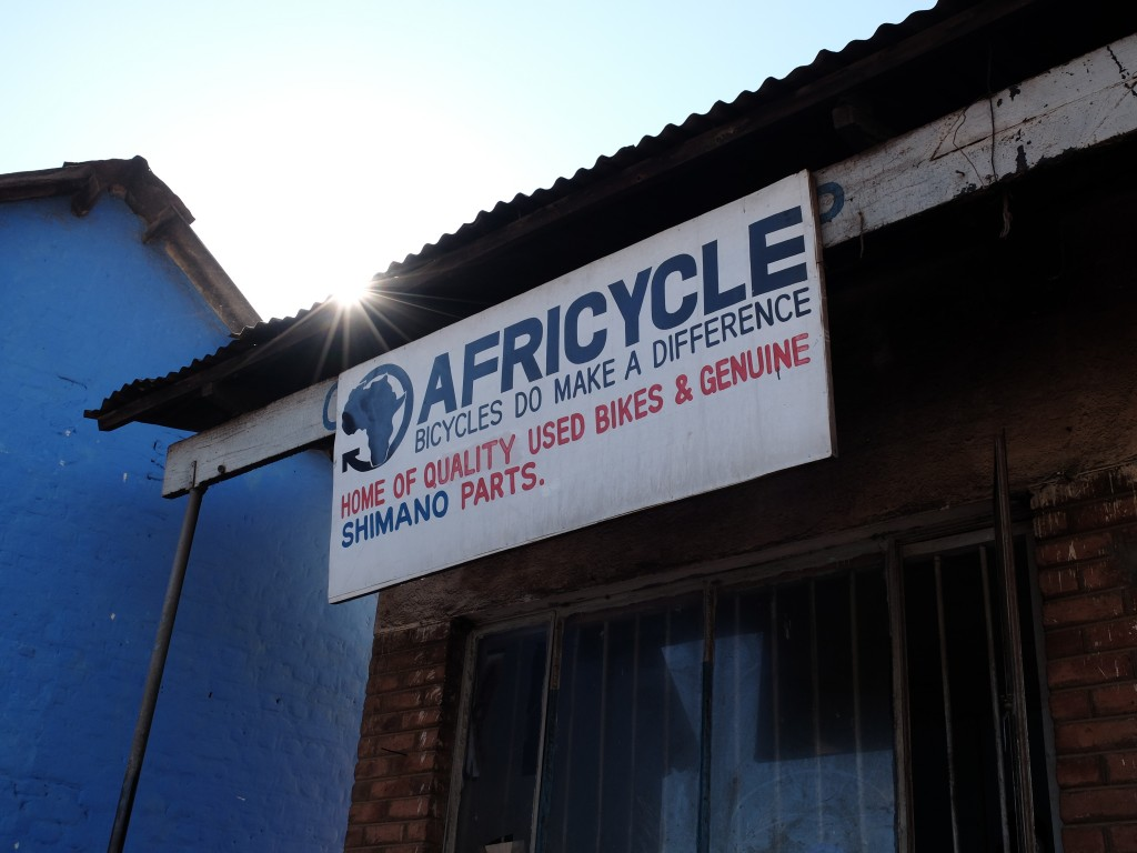 Africycle Shop Sign in Zomba